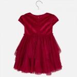 Кадифена рокля комбинирана с тюл